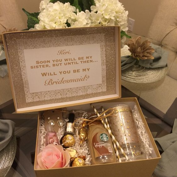 Cool Wedding Gift Ideas For Sister You Can Consider: Gold And Blush Bridesmaids Box